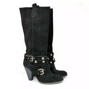 Nine West Vtg America Suede Studded Buckle Boots